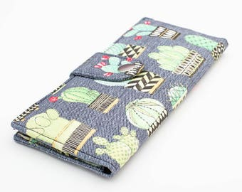 Cactus Wallet, Cactus Travel Wallet, Long Wallet for Women, Cacti Card Wallet, Handmade Wallet Organizer, Fabric Bifold Wallet - gray cactus