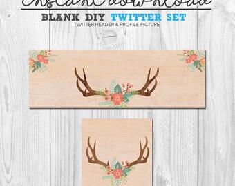 premade twitter set, blank diy instant download social media branding kit, twitter header banner cover graphic set, floral antler vintage