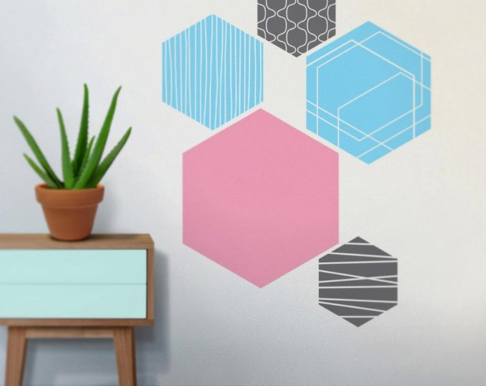 hex vinyl wall decals, hexagonal geometric wall art