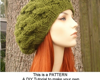 Instant Download Knitting Pattern - Knit Hat Knitting Pattern - Knit Hat Pattern for Cable Beret Pattern - Womens Hat - Womens Accessories