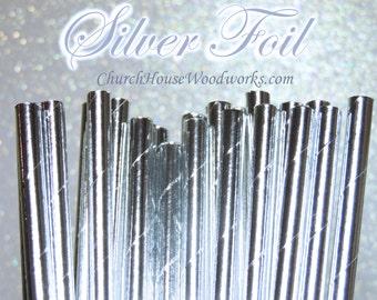100 SILVER Paper Straws: Wedding, Baby Shower, Birthday Party, Bridal Shower, Wedding Venue, Table Decor, SILVER Decor, Foil SILVER