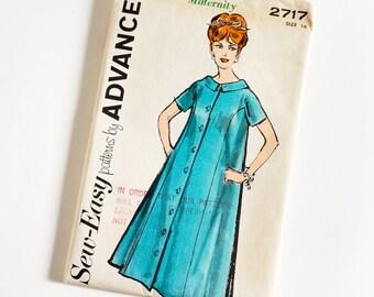 Vintage 1960s Womens Size 16 Maternity Dress Advance Sewing Pattern 2717 FACTORY Folds / b36 w28