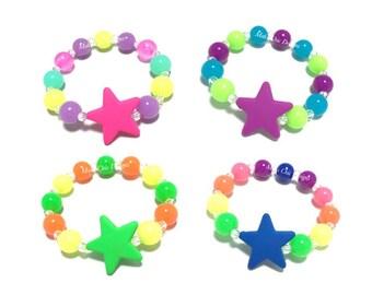Toddler or Girls Neon Star Small Beaded Bracelet - retro 80s bracelet - Galaxy Bracelet - Tropical Bracelet - Neon Bracelet Party Favors