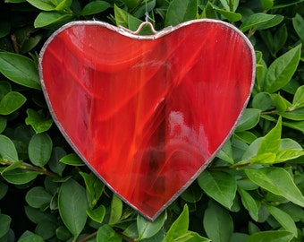 Single Lovers Heart  Stained Glass in Red, Suncatcher