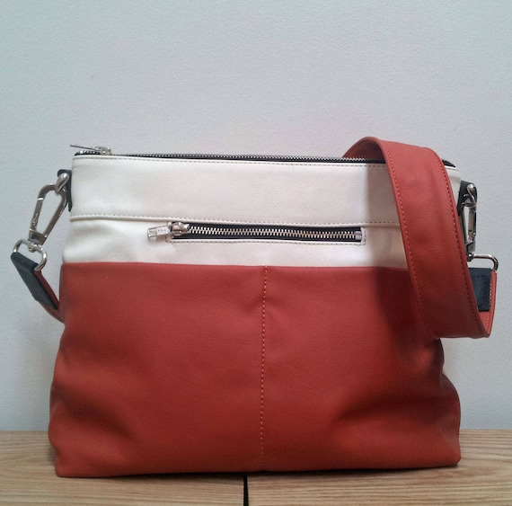 Leather Bag, Hobo style Handbag - rust and cream leather