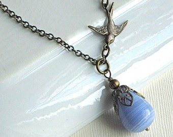 Blue Teardrop Bird Necklace - Glass