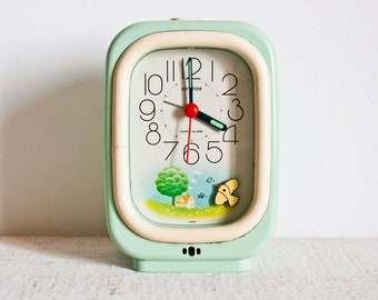 So Cute and Rare Vintage Japan RHYTHM Mint Alarm Clock || 70's Retro Kid Clock - Pastel Color Clock - Kawaï Alarm Clock