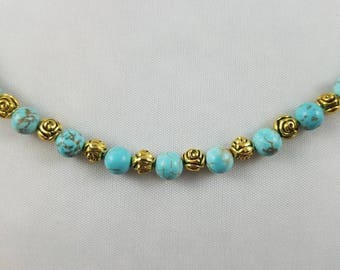 Turquoise and Gold Rosette Beaded Necklace