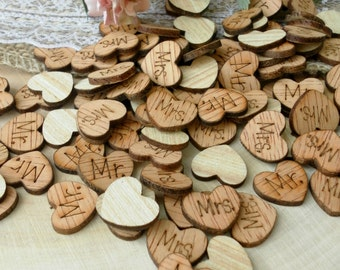 "100 0.5"" ""Mr."" & ""Mrs."" Hearts ~ Cute Little Wooden Hearts Rustic Table Confetti ~ Summer Wedding ~ Spring Wedding Decoration~Table Confetti"