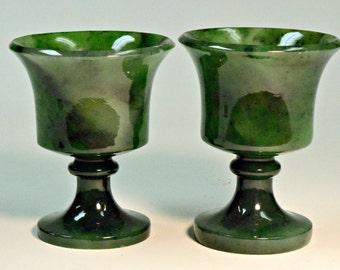 VINTAGE JADE Siberian NEPHRITE Gemstone Pair Green Cups 170 grams C3