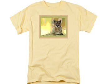 Texas Panther T-shirt, Big Cat Wearable Art, Digital Painting, Animal Uni-Sex Fashion, Sand Color, Green Yellow, Cat T-shirt, Women or Men