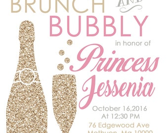 Brunch and Bubbly Shower Invitation - Printable Bridal Shower, Birthday Party, Homecoming Digital file