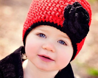 Girls Christmas Hat / Crochet Girls Hat / Girls Winter Hat / Crochet Baby Hat / Toddler Girl Hat / Hats For Girls / Girls Beanie / Girls Hat