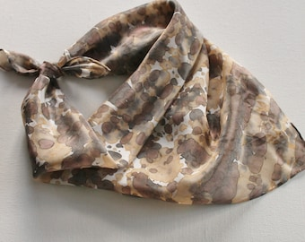 SALE Hand Painted Silk Square Scarf - Hand Dyed Bandana Brown Tan Cream Black Gray Grey Charcoal Animal Print Cheetah Leopard