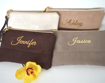 Set of 4 Custom Name Wristlet Clutches, Wedding Clutch Purse, Evening Clutch