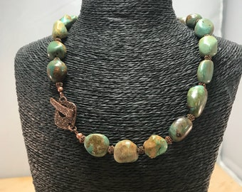 Beaded Necklace set with Natural Green Turquoise Nugget Beads, Copper Glass Spacers, Earrings included , Item #604155943