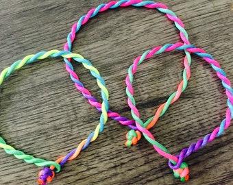 Rainbow chakra twist satin cord friendship bracelet, ankle bracelet festival bracelet, holiday bracelet, friendship bracelet or ankle