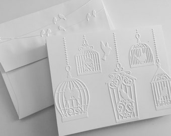 Embossed Cards, Greeting Cards, Embossed Cards Boxed Set, White Embossed Cards, Note Card Set, Blank Cards, Greeting Cards Bird