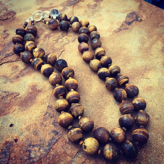 Double Strand Tiger's Eye Statement Necklace and Earring Set