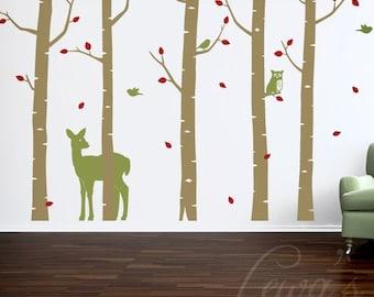 Woodland Animal Birch Tree Forest Vinyl Wall Decal Set - 9' Height Option. Forest Wall Decal, Woodland ANIMAL Nursery, Woodland Play Room