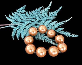 Vintage Chunky Faux Pearl Stretch Bracelet Big Copper Color Beads Expansion Bracelet Costume Jewelry