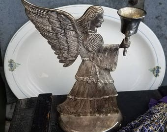 Vintage Angel / Vintage Silverplate Candleholder / Vintage Silverplate / Candleholder /  Vintage Religious / Silverplate / Patina / Wedding