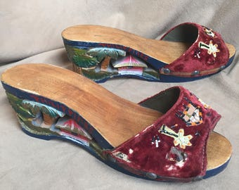Vintage Carved Shoes, Carved Heel Wedges, Tiki Sandals, Handcarved Philippines Slip On Shoes, Tropical, Hawaiian, Souvenir, size 6