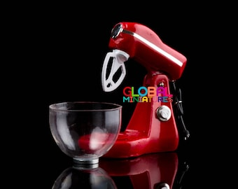 Dollhouse Miniature Glossy Red Electric Kitchen Aid Mixer Flour Blender with Removable Plastic Bowl - 1:12 Scale