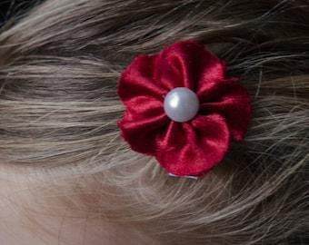 Hair Bow - Maroon Satin 5 Petal Hair Flower Clip