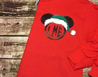 Christmas Disney Shirt - Mickey Ears Monogram - Red and Green Vinyl - Comfort Color - Monogram Tee - Disney Shirt - Sweats