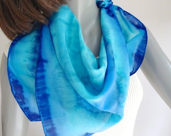 Hand Painted Scarf, Aqua Blue Scarf, Square Neck Scarf, Turquoise Silk, Small Square Scarf, Hand Dyed, Artist Handmade, Unique, Jossiani