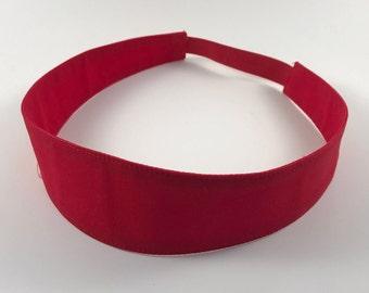 Red Handmade Fabric Headband, Adult Headband Woman, Womens Headband, Reversible Fabric Headband For Women,