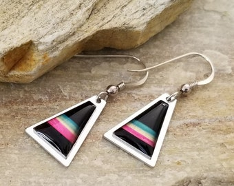 Pink, Black, Silver & Green Triangle Earring, Handcrafted Modern Metal Jewelry, Presents For Her, Gift - Ibiza Earrings by Jon Allen