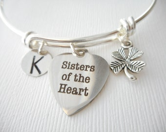 Sisters of the Heart, Four Leaf Clover- Initial Bangle/ big sister little sister, sisters jewelry and gifts, Bracelets for Sisters, sisters