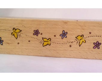 Rubber stamp, wood mounted butterfly stamp, border stamp, card making stamp