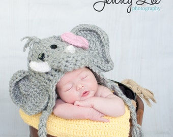 Girl Elephant Hat - Baby Animal Hat with Bow Clip - Baby Elephant Halloween Costume - by JoJo's Bootique