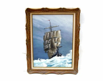 Vintage Tall Ship Boat Painting Nautical Sailing Art Artist Fowler Large Framed Maritime Oil on Canvas Seascape Sailboat Schooner