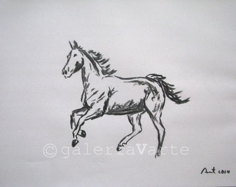 original charcoal drawing  -  equestrian - europeanstreetteam