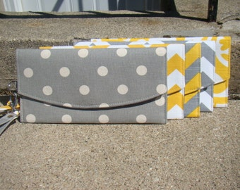 Yellow and gray wedding clutches, Personalized wedding gifts, Bridesmaids gifts, Clutch, Fold over clutch, Envelope clutch,