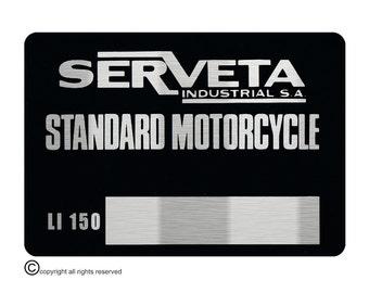 Lambretta Serveta LI 150 VIN Chassis Plate