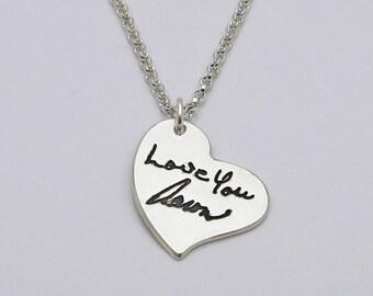 Handwriting Necklace, Silver Heart with ACTUAL Handwriting, Handwritten Heart Necklace, Signature Necklace, Wedding , Memorial, Wedding Love