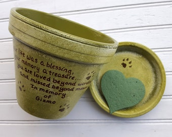 Dog Memorial - Cat Memorial - Pet Memorial Gift - Painted Flower Pot - Large Planter