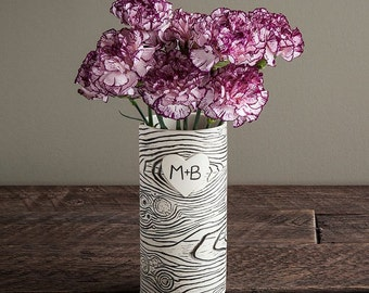 Personnalisé de Faux Bois porcelaine Vase - réalisé sur commande