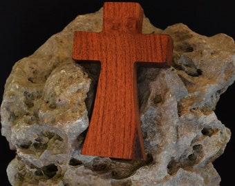 "Wooden Wall Cross; 3""x5""x1""; Small Wood Cross; Wall Cross Decor; Crooked Cross; Mesquite; Handmade;  Free Ground Shipping cc5-103052018"