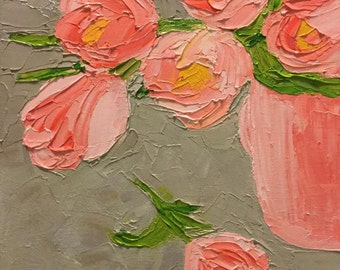 Pink Tulip Flowers in Pink Cup, 9x12 Original Oil Painting using Impasto Paste