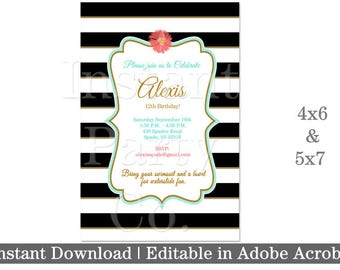 Black and white striped birthday invitations | Black and white invitation | Girl birthday invitation