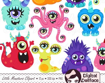 Little Monster Clipart, DIY Birthday Party Decorations, Cute Monster Clip Art