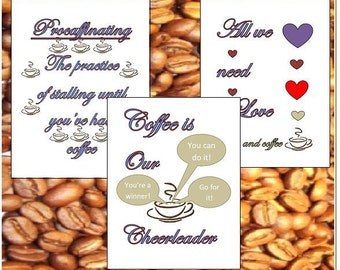 SET OF 3 Coffee Printables, Funny print for home, Love and coffee, Coffee cheerleader, Coffee lover gift Caffeine, Coffee shop sign, free