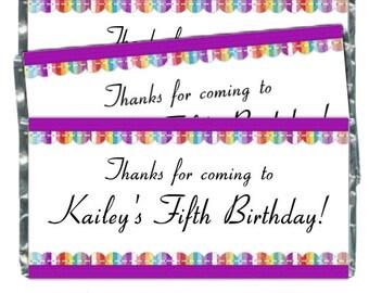 Printable Candy Wrappers, Rainbow Stripe Custom Candy wrappers, Birthday Candy Wrappers - fit over chocolate bars - CUSTOM design for you