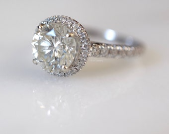 EGL Certified 1.88 Carat Round Brilliant Cut Halo Engagement Ring